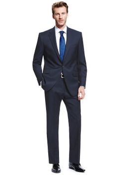 pure-new-wool-1-button-check-suit by marks-&-spencer