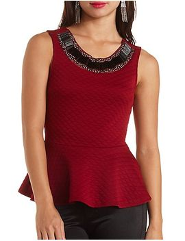 embellished-textured-peplum-top by charlotte-russe
