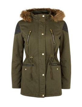 teens-khaki-contrast-shoulder-panel-faux-fur-trim-hooded-parka by new-look