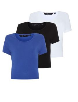 teens-3-pack-blue-black-and-white-plain-crop-tops by new-look