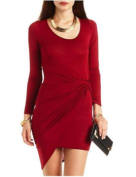 long-sleeve-knotted-asymmetrical-dress by charlotte-russe