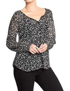 womens-patterned-chiffon-tops by old-navy