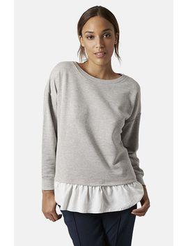 pleat-hem-sweatshirt by topshop