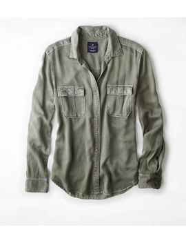 aeo-military-button-down-shirt by american-eagle-outfitters