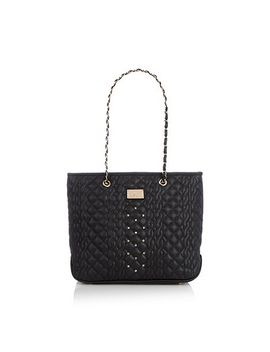 black-cable-quilted-large-tote-bag by red-herring