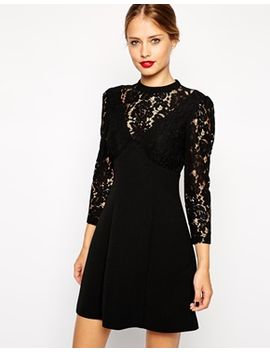 asos-a-line-dress-with-lace-insert by asos-collection