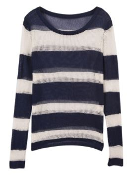 stripe-pointelle-loose-jumper by choies