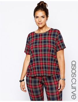 asos-curve-exclusive-boxy-t-shirt-in-plaid--check by asos-curve