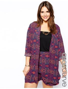 asos-curve-exclusive-soft-blazer-in-festival-print by asos-curve