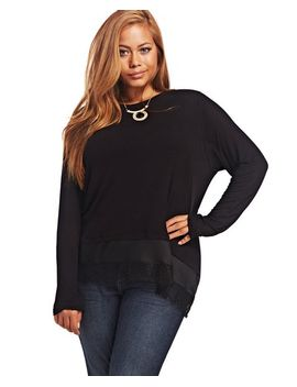 lace-trim-long-sleeve-top by wet-seal