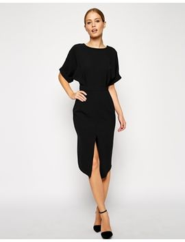 asos-wiggle-dress-with-wrap-back-and-split-front by asos-collection