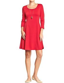 womens--ponte-knit-fit-&-flare-dresses by old-navy