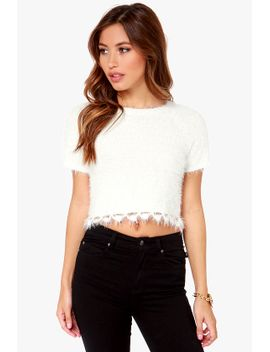 snow-body-does-it-better-fuzzy-ivory-crop-top by lulus