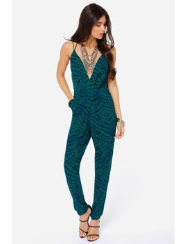 lovers-+-friends-my-way-teal-green-print-jumpsuit by lovers-+-friends