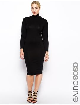 asos-curve-exclusive-body-conscious-dress-with-funnel-neck-in-longer-length by asos