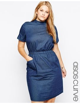 asos-curve-t-shirt-pocket-dress-in-denim-with-high-neck by asos-curve