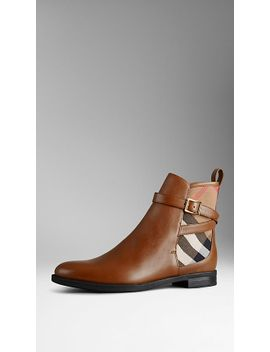 house-check-leather-ankle-boots by burberry