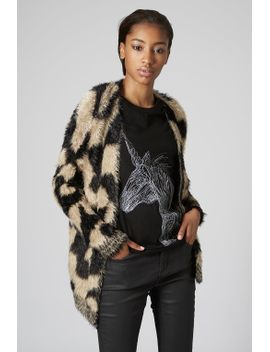 fluffy-animal-print-cardigan by topshop