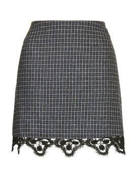 tweed-lace-hem-mini-skirt by topshop