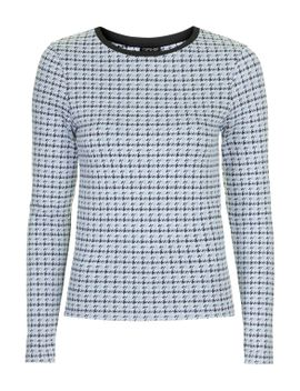 mini-houndstooth-long-sleeve-top by topshop