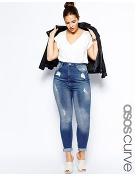 asos-curve-highwaist-skinny-jean-in-distressed-rip by asos-curve