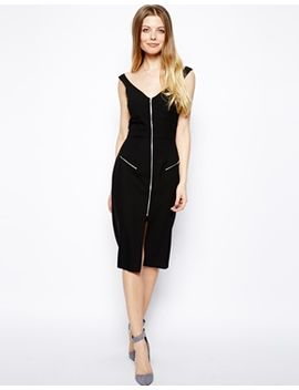 asos-sexy-pencil-dress-with-zip-front-and-wide-neck by asos-collection