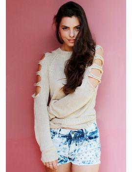 cutout-sleeves-sweater---beige by lookbook-store