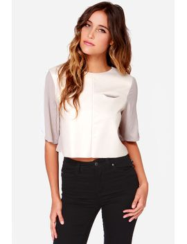 set-in-tone-taupe-and-cream-vegan-leather-crop-top by lulus