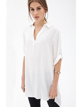 white-lapel-half-sleeve-loose-dipped-hem-blouse by sheinside