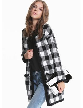 black-white-long-sleeve-plaid-pockets-knitting-coat by sheinside