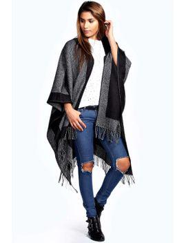 elsa-contrast-boarder-tassel-blanket-knit by boohoo