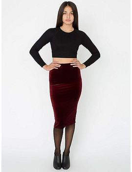 velvet-mid-length-pencil-skirt by american-apparel