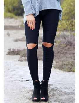 cutout-knee-skinny-pants by lookbook-store
