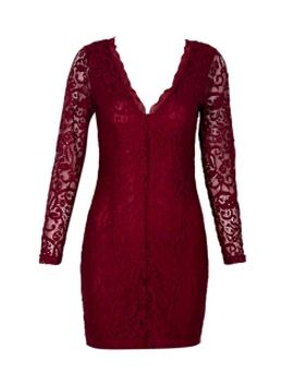 v-neck-lace-bodycon-dress-in-wine-red by choies