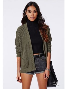 celine-knit-boyfriend-cardigan-khaki by missguided