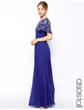 asos-tall-embellished-sleeve-pleated-maxi by asos-tall