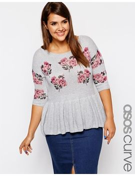 asos-curve-exclusive-peplum-sweater-in-rose-pattern by asos-curve