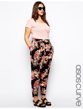 asos-curve-exclusive-peg-pant-in-floral-print by asos-curve