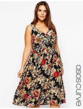 asos-curve-exclusive-midi-dress-in-tapestry-print by asos-curve
