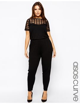 asos-curve-exclusive-peg-jumpsuit-with-grid-mesh by asos-curve