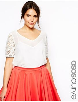 asos-curve-exclusive-lace-sleeve-top by asos-curve