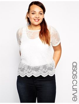 asos-curve-exclusive-lace-t-shirt-with-scallop-hem by asos-curve