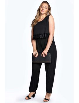 rebecca-double-layer-lace-trim-jumpsuit by boohoo