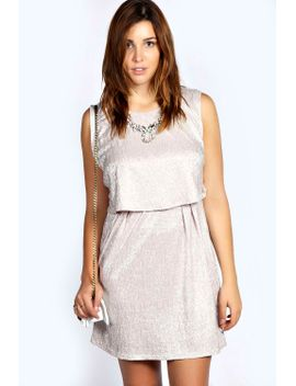 madison-crinkle-metallic-double-layer-dress by boohoo