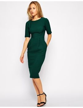asos-midi-wiggle-dress-in-texture by asos-collection