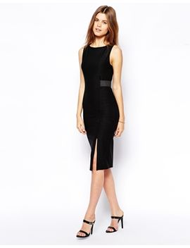asos-pencil-dress-in-rib-with-belt-detail by asos-collection