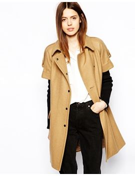 asos-coat-with-short-sleeve-and-rib-insert by asos-collection