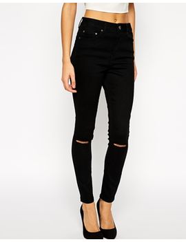 asos-ridley-skinny-ankle-grazer-jeans-in-clean-black-with-ripped-knees by asos-collection