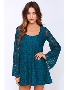 chaser-rain-or-shine-teal-blue-lace-shift-dress by chaser