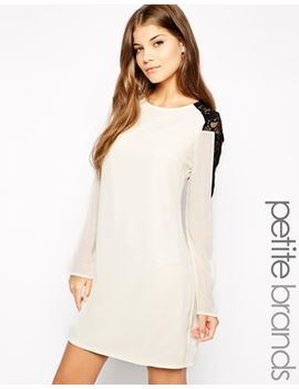 little-mistress-petite-long-sleeve-shift-dress-with-contrast-lace-back by asos-petite